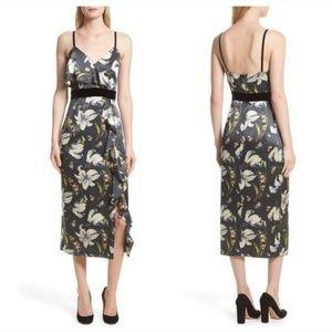 Cinq a Sept Leena Floral Silk Velvet Midi Dress 0